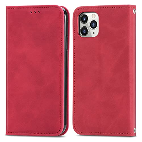 Yoota Funda para iPhone 12 Pro MAX, Funda de Cuero con Ranuras para Tarjetas Soporte Flip Cover Tapa Cartera Carcasa Libro para iPhone 12 Pro MAX - Rojo