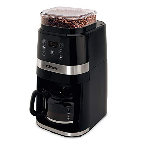 Cloer 5340 filterkoffiemachine met maalwerk, maalgradeninstelling, glazen kan voor maximaal 12 kopjes, timer- en warmhoudfunctie, filtergrootte 1x4, 730 W, kunststof, zwart