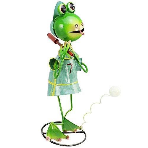 com-four® Dekofigur Frosch mit Baseballschläger - Gartenfigur aus bunt lackiertem Metall im Frosch-Design - ca. 44x23x22cm (1 Stück - Frosch mit Baseballschläger)