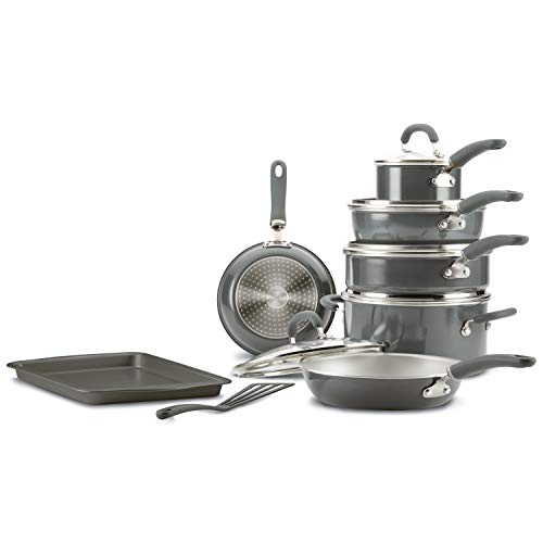 Rachael Ray Create Delicious Nonstick Cookware Pots and Pans Set, 13 Piece, Gray Shimmer