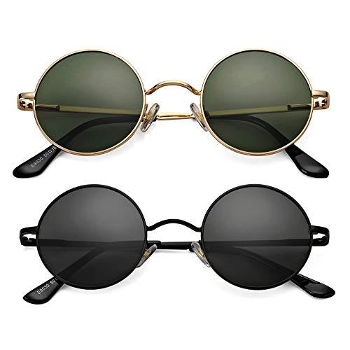 Braylenz Gafas de sol polarizadas redondas pequeñas para mujeres y hombres, estilo hippie retro John Lennon
