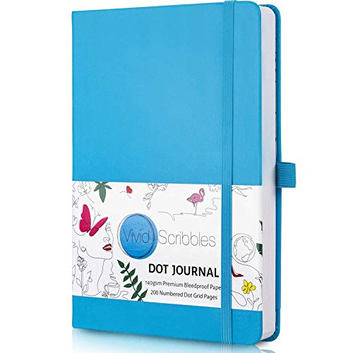 Bullet Dotted Journal - a5 dotted notebook with 140gsm ghost free and bleedproof paper with inner pocket, 3 bookmarks and gift box (Blue)