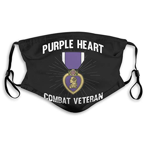 YUEBEIBEISDM Purple Heart Us Army Veteran Military Medal Adult Kids Reusable Dust Mask with Filter Breathable Safety Dust Face Mask
