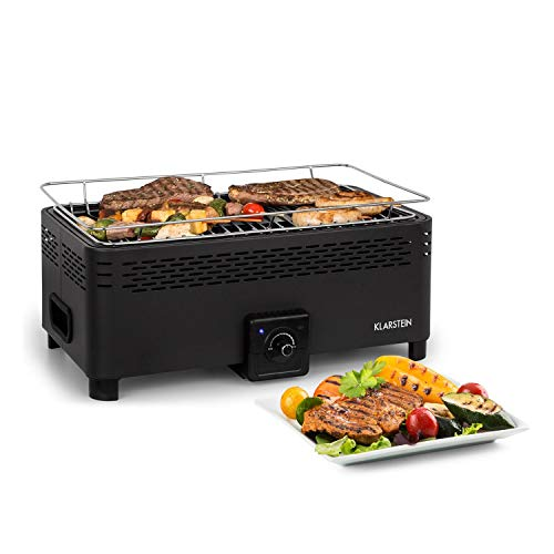 Klarstein Micro-Q 3131 Charcoal Grill - Portable Grill, Camping Barbecue, Rectangular Shape, 42 x 23 cm Grill Grid, Battery Operated, Reduced Smoke, Carrying Handles, Carrying Case, Black