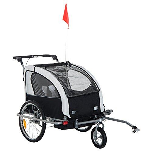 HOMCOM 360° draaibare kinderwagen 2-in-1 fietskar jogger wit•zwart