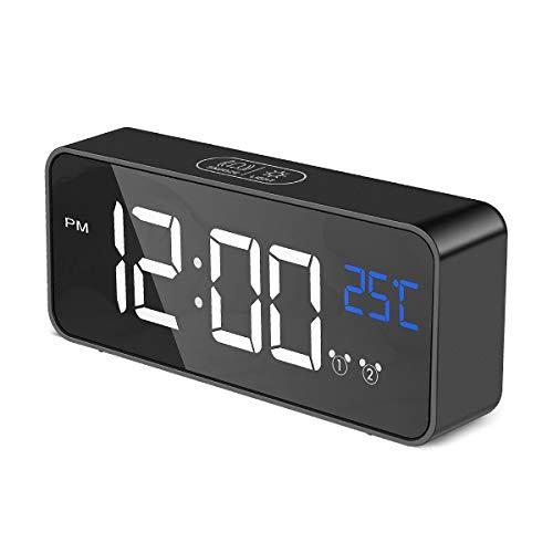 Aitsite Digitaler Wecker,LED Spiegel Tischuhr mit Temperaturanzeige,USB Wiederaufladbar Reisewecker mit 2 Alarmen, Snooze,Schallinduktion Funktion, Gedächtnis Funktion, 4 Helligkeit,13 Musik,12/24H