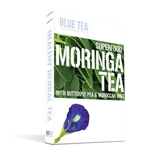 Blue Tea - Moringa Mint Caffeine Free Imunity Boostter Tea, Superfood Herbal Tea, 24 Cups - 12 Teabags)