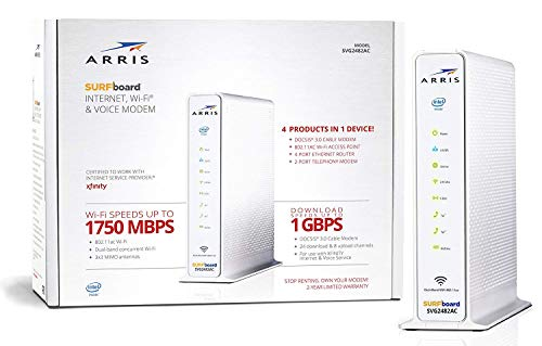 ARRIS SURFboard SVG2482AC DOCSIS 3.0 24x8 Cable Modem & AC1750 Wi-Fi Router, Certified for Xfinity...