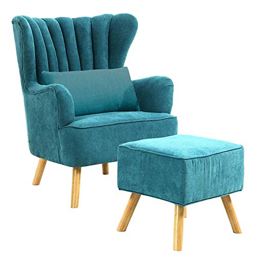 Warmiehomy Modern Fabric Armchair Wing Back Occasional Chair Sofa Lounge Tub Chair Fireside Chair with Footstool Living Room Bedroom Office Furniture (Turquoise)