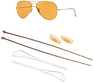 HEYDEFO Replacement Temple Arms Nose Pads Temple Tips Repair Kit for Ray-Ban Aviator RB3025 3025 Sunglasses (Gold)