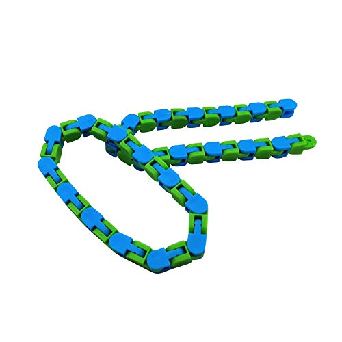 Han Shi Colorful Puzzle Sensory Fidget Toys Stress Relief Rotate and Shape,Bicycle Chain Track Decompression Toy Finger Toys for Adults Kids 24 Bit (Blue Green)