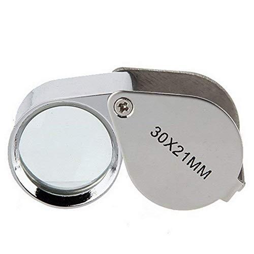 LZQBD Lupas, Mini Lupa 30X Lente Hd Metal Plegable Portátil Lente de Cristal de Mano Lupa de Identificación de Joyas