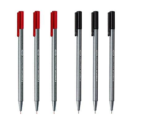 Staedtler Triplus Fineliner 0.3mm - Pack of Six (3 Black & 3 Red)