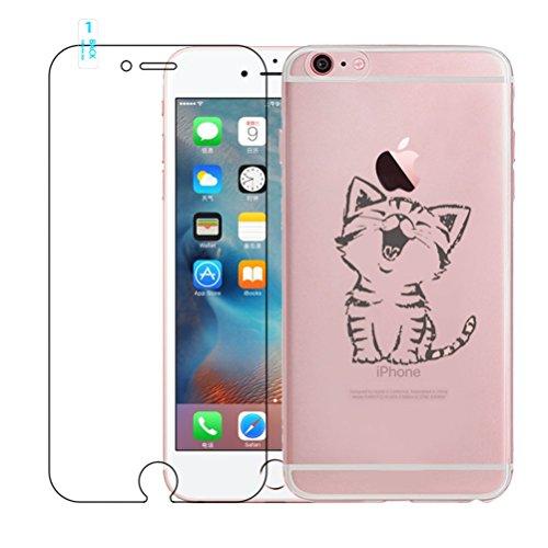 Funda iPhone 6, iPhone 6S Caso de Gel de Silicona Transparente para TPU Custodia [con Protector de Pantalla de Vidrio Templado] para iPhone 6 / iPhone 6S - Cat
