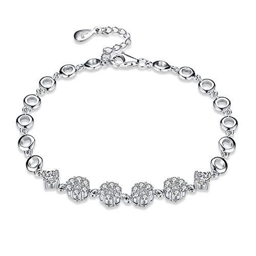 NYKKOLA Pulsera de plata de ley 925 con circonitas cúbicas y cadena de flores de cristal, hermosa joyería para mujeres y niñas regalo