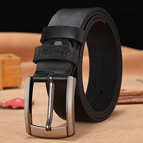 Cinturón de piel auténtica para hombre, de lujo, de diseño, de piel de vaca, para hombre, pantalones vaqueros para hombre (longitud del cinturón: 125 cm, color: negro)
