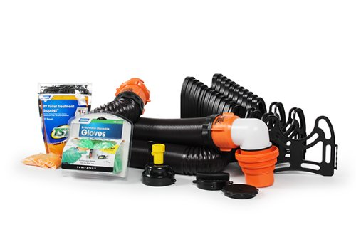 Camco RV Sanitation Kit for Your Holding Tank System - Includes RhinoFLEX Sewer Hose with Fittings, Leak Proof seals, Storage Caps, Sanitation Gloves and TST Drop Ins to Eliminate Holding Tank Odors (44732)