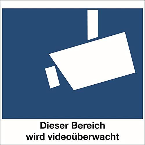 Schild Alu Dieser Bereich wird videoüberwacht 150 x 150 mm (Videoüberwachung, Überwachungskamera, Video, Kamera) wetterfest