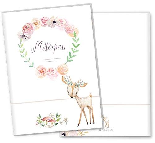 Mutterpasshülle 3-teilig Cute Boho Reh schöne Geschenkidee Schutzhülle (Mutterpass ohne Personalisierung, Reh)