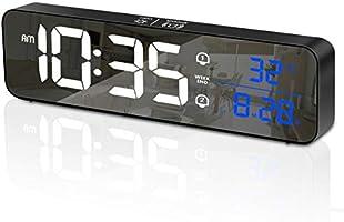 HOMVILLA Sveglia Digitale, Orologio da Parete con LED Temperatura Data, Sveglia da Comodino LED con 40 suonerie...