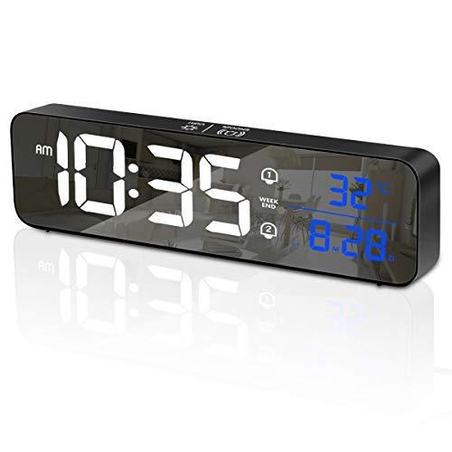 HOMVILLA Sveglia Digitale, Orologio da Parete con LED Temperatura Data, Sveglia da Comodino LED con 40 suonerie opzionali, Doppio Allarme, Funzione di Snooze, 5 Livelli di luminosità (Nero)