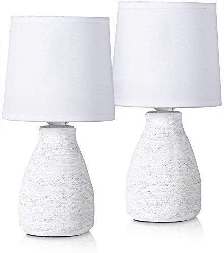 BRUBAKER Set de 2 Lámparas de Mesa o de Noche - 28 cm - Blanco - Portalámparas de Cerámica - Pantallas de Algodón - Landhaus Shabby Chic