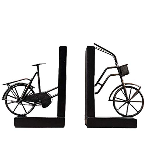 Book Ends Bookends, Retro Classic Bike Bookend, Modern Book Ends for Heavy Books Holder, for Adults Kids Gift Book Stoppers Bookends Books Support (Color : Black)