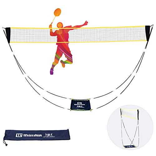 SIMSIMY Portable Badminton Net Set with Stand Carry Bag, Foldable Volleyball Tennis Net Rack for Multiple Indoor Outdoor Sports Competition - Easy and Fast Assembly, No Tools or Stakes Required