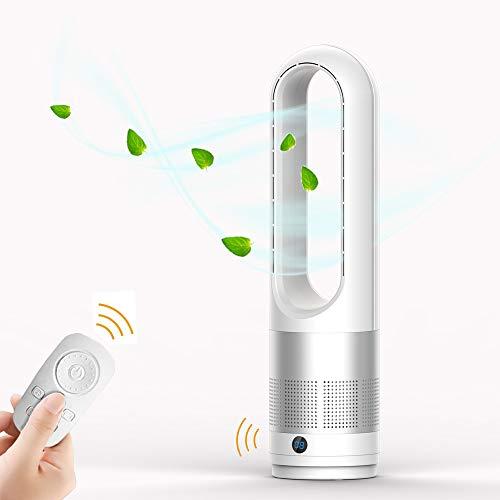 EZSMART Ventilador sin aspas, 60CM 80° oscilante Ventilador de torre control remoto, 8H-Timer, 8 niveles de ventilación, Ventilador de pedestal silencioso y táctil para dormitorio de oficina (Plata)