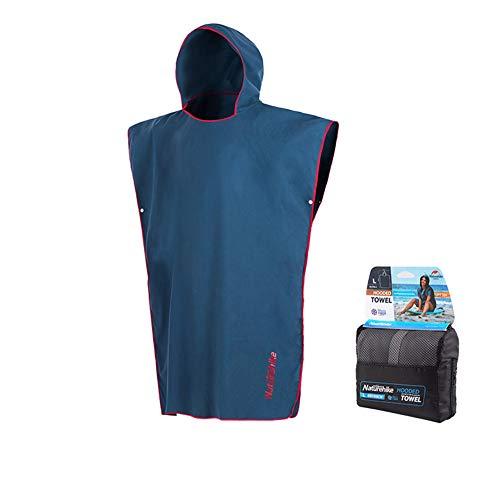 Tentock Unisex Sonnenschutz Erwachsene Kapuzen ändern Robe Handtuch Poncho Microfaser Strand Umhang für Reisen Schwimmen(blau, L)