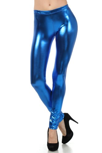Sakkas Liquid111 Footless Flüssigkeit Wet Look Shiny Metallic Stretch Leggings - Royal Blau/Medium