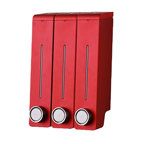 non-brand Sharplace 305ml Distributeur de Savon Liquide Mural à 1 Compartiment et 3 Chambres - Rouge