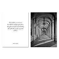 北欧のポスターは、黒と白のアーチ型の廊下の壁の芸術のキャンバスの絵画の壁の写真をリビングルームの装飾的な写真に印刷します-50x70cmx2個フレームなし