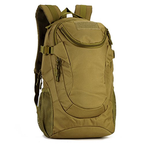 Protector Plus 25L Military Backpack Rucksack Gear Water-resistance Tactical Assault Pack Student School Bag for Hiking Camping Hunting Trekking Traveling (Brown)