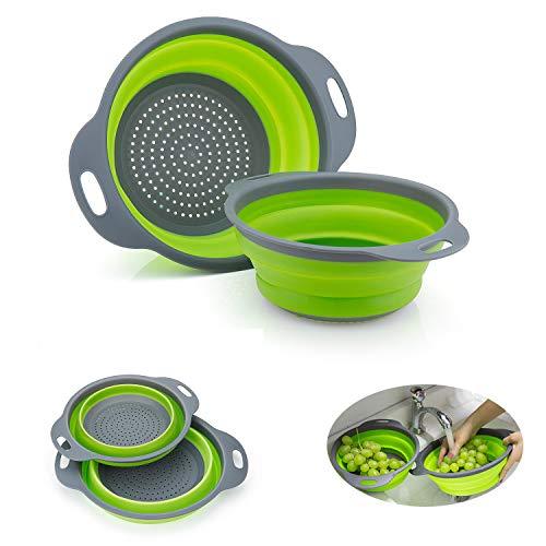 WolinTek Faltbarer Seiher Sieb Set, 2 Größe Küche Silikon Klappbar Sieb Nudelsieb Faltbar Silikon Filter Gemüse Frucht Korb Für Küchen,Non-Toxic Leicht zu Reinigen (Grün)