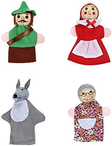 NC87 Juguete Suave 4 unids/Set 10cm niños bebé Juguete de Felpa Marionetas de Dedo muñeca en Mano Capucha de Madera con Cabeza de Cuento de Hadas Historia marioneta de Mano