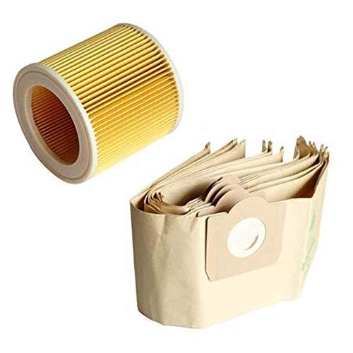 DONGYAO 5 bolsas de polvo, 1 filtro para aspiradora KARCHER WD3 Premium 3,300 M 3,200 WD3.500 P 6,959-130