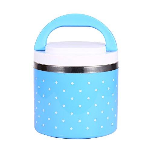 yuyte 1 Capas Fiambrera de Aislamiento, 600ml Fiambrera Termo térmica con Aislamiento de Acero Inoxidable Contenedor de Alimentos Caliente (Azul)