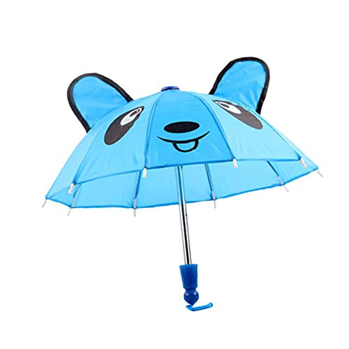 Schöne schöne Regenschirm Zubehör Kinder Geschenke geeignet für 18 Zoll Mädchen Puppe Outdoor Regenschirm Wind Resistant Folding Regenbekleidung, blau