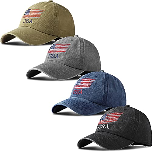 Geyoga 4 Pieces USA Flag Hat American Flag Baseball Cap USA Tactical Hat Washed Distressed Hats for Men Women Teens