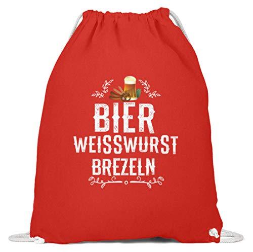 Schuhboutique Doris Finke UG (haftungsbeschränkt) Oktoberfest Bier Weisswurst Brezeln - Baumwoll Gymsac -37cm-46cm-Hellrot