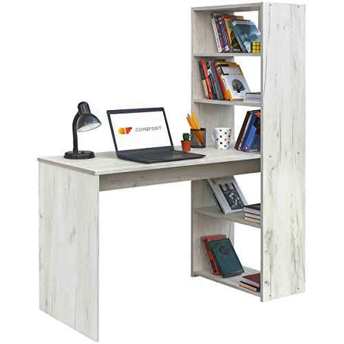 COMIFORT Escritorio con Estantería - Mesa de Estudio con Librería de Estructura Firme, Moderna y Minimalista con 4 Baldas Espaciosas y de Gran Capacidad, Color Kraft