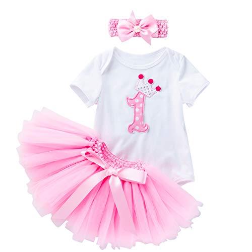 Baby-Mädchen Erster Geburstag Crown Spielanzug Stirnband Rock (13-18monate, Pink)