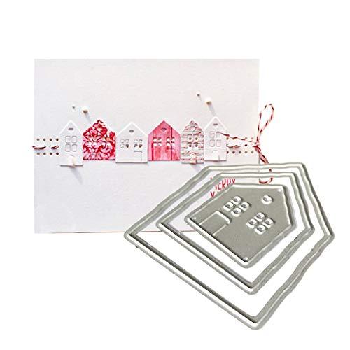 Qintaiourty Stanzschablone, Weihnachten Häuser Metall Stanzformen Schablone Scrapbooking DIY Album Stempel Papier Karte Prägung