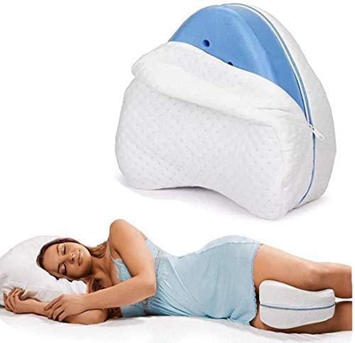 Kniekissen für Seitenschläfer, Memory Foam Knie Kissen Schaum Kniekissen Beinkissen, Weiß Leg Pillow, Ergonomisches Seitenschläferkissen für stützt Beine,Knie und Rücken,Abnehmbar und Waschbar
