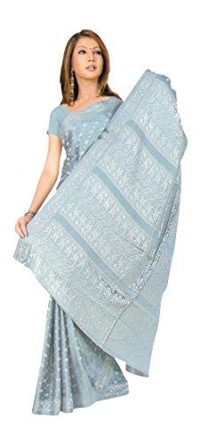 Trendofindia Trendofindia Bollywood Sari Kleid Silber Grau CA126