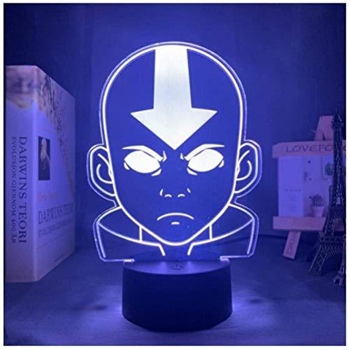 Luz de noche ilusión 3D luz de estado de ánimo para niños control remoto de 7 colores y luz de regalo de vacaciones con botón táctil - Arrow Bald boy