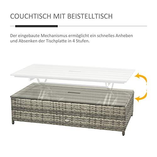 Outsunny Polyrattan Sitzgarnitur 4 TLG. Sitzgruppe Gartenset Doppelsofa mit Hocker Tisch Sofagarnitur Gartenmöbel Set Lounge Grau - 6