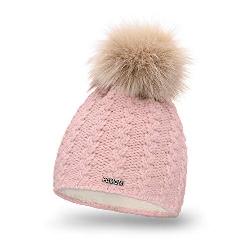 PaMaMi Damen Winter Mütze | Rosa | Strickmütze Beanie mit Fellbommel und Fleece gefüttert