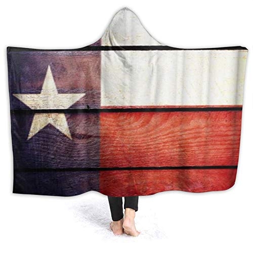 MIGAGA Hoodie Blanket Warm Flannel,Flag Theme Star USA Navy White Red,Soft Wearable Throw Blankets 50'×40'